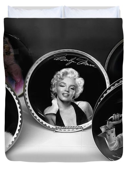 Marilyn And Elvis Duvet Cover by Daniel Hagerman