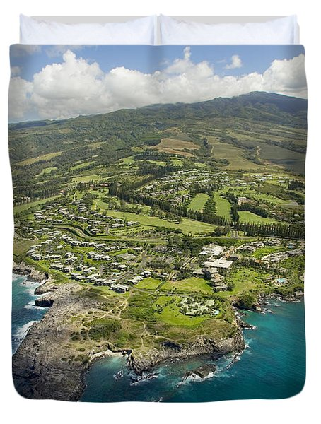 Maui Aerial Of Kapalua Duvet Cover by Ron Dahlquist - Printscapes