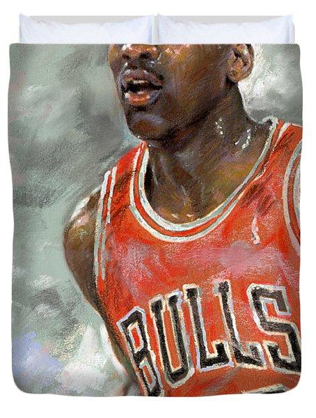 Michael Jordan Duvet Cover by Ylli Haruni
