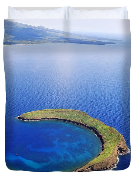 Molokini Aerial Duvet Cover by Ron Dahlquist - Printscapes