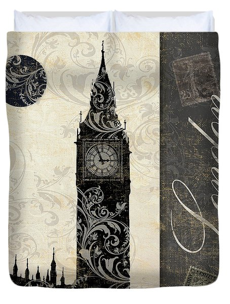 Moon Over London Duvet Cover by Mindy Sommers
