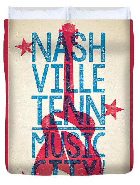 Nashville Tennessee Poster Duvet Cover by Jim Zahniser