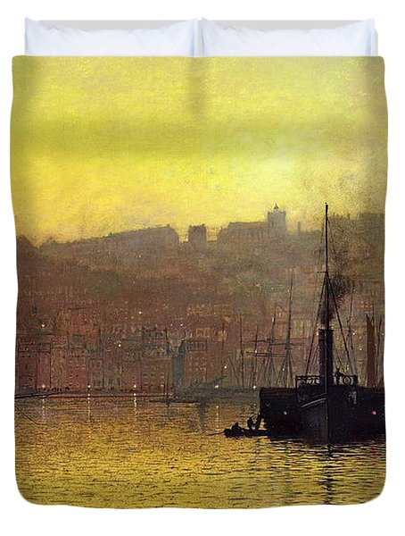 Nightfall In Scarborough Harbour Duvet Cover by John Atkinson Grimshaw
