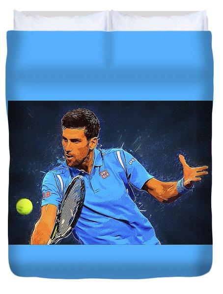 Novak Djokovic Duvet Cover by Semih Yurdabak