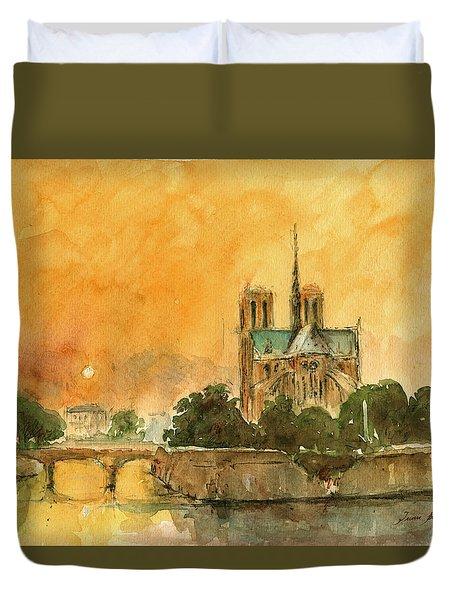 Paris Notre Dame Duvet Cover by Juan  Bosco