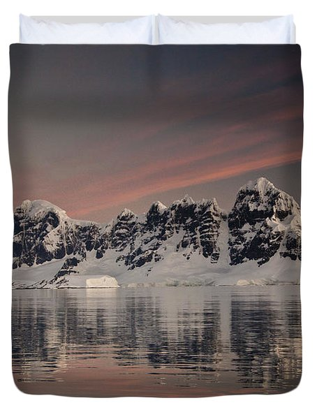Peaks At Sunset Wiencke Island Duvet Cover by Colin Monteath