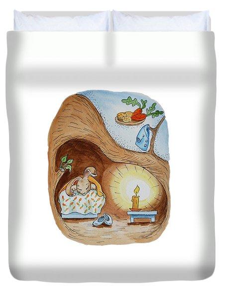 Peter Rabbit And His Dream Duvet Cover by Irina Sztukowski