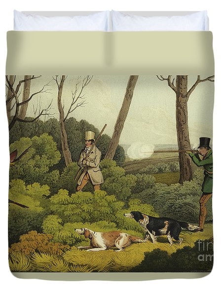 Pheasant Shooting Duvet Cover by Henry Thomas Alken