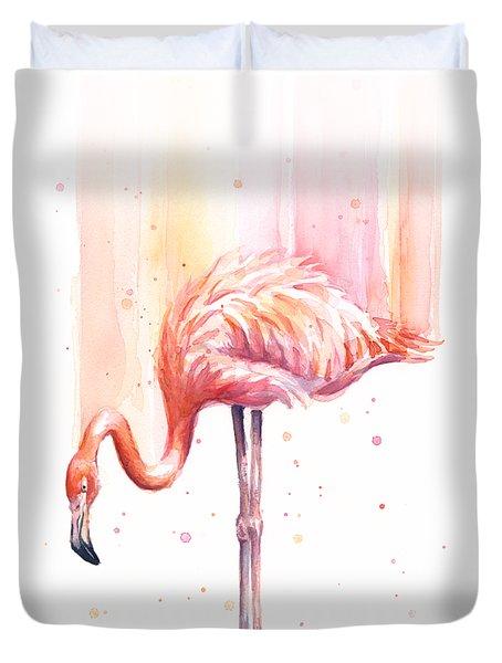 Pink Flamingo Watercolor Rain Duvet Cover by Olga Shvartsur