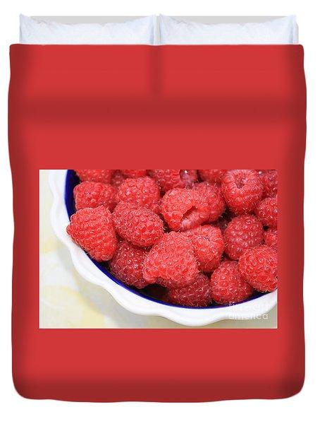 Raspberries In Polish Pottery Bowl Duvet Cover by Carol Groenen