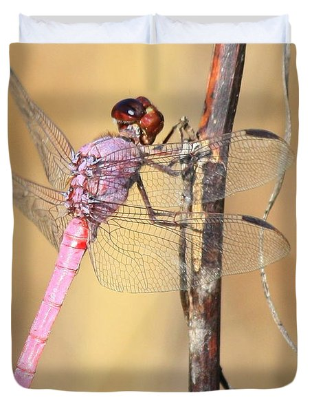 Red Dragonfly Portrait Duvet Cover by Carol Groenen