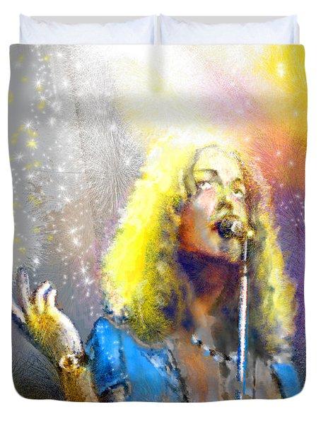 Robert Plant 02 Duvet Cover by Miki De Goodaboom