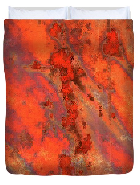 Rust Abstract Duvet Cover by Carol Groenen