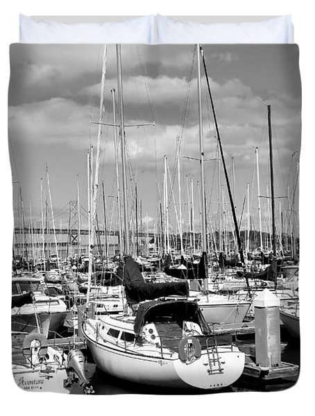 Sail Boats at San Francisco China Basin Pier 42 With The Bay Bridge in The Background . 7D7666 Duvet Cover by Wingsdomain Art and Photography