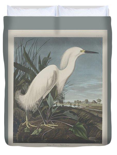 Snowy Heron Or White Egret Duvet Cover by John James Audubon