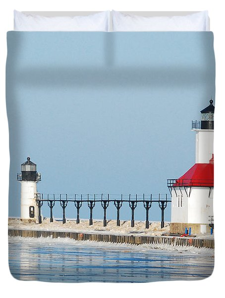 St Joseph North Pier Lights Duvet Cover by Michael Peychich