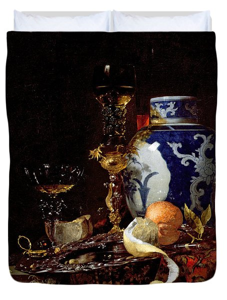 Still Life With A Chinese Porcelain Jar Duvet Cover by Willem Kalf