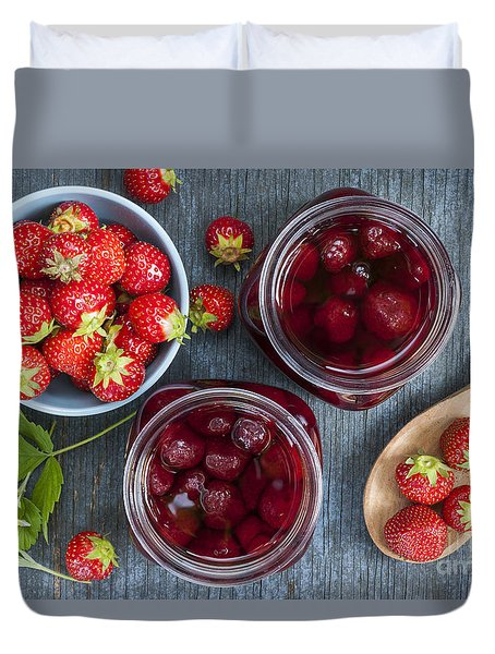 Strawberry Preserve Duvet Cover by Elena Elisseeva