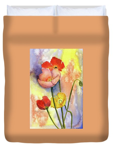 Summer Poppies Duvet Cover by Vickey Swenson