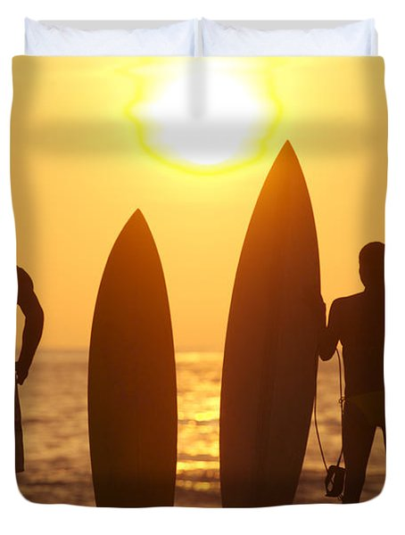 Surfer SIlhouettes Duvet Cover by Larry Dale Gordon - Printscapes