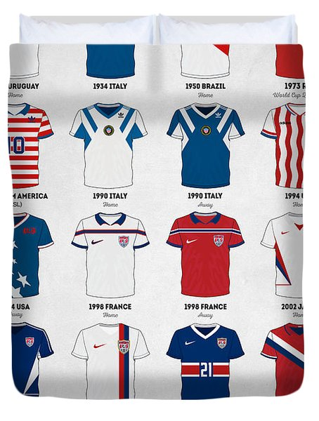 The Evolution Of The Us World Cup Soccer Jersey Duvet Cover by Taylan Soyturk