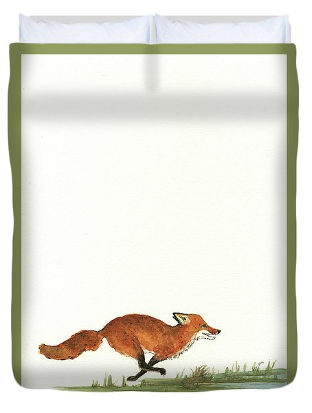 The Fox And The Pelicans Duvet Cover by Juan Bosco