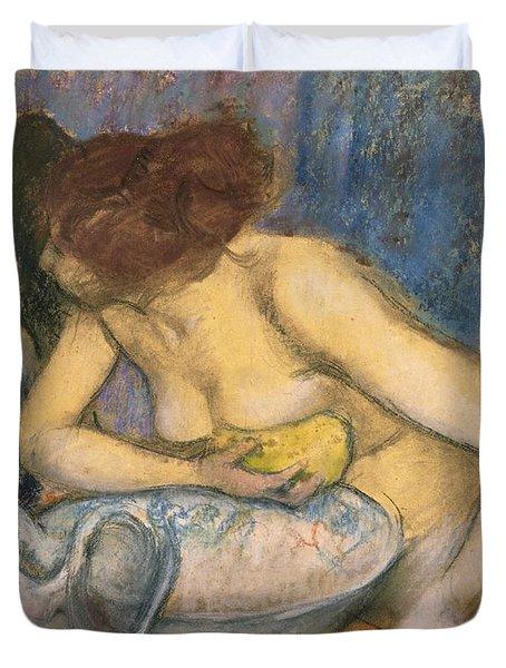 The Toilet Duvet Cover by Edgar Degas
