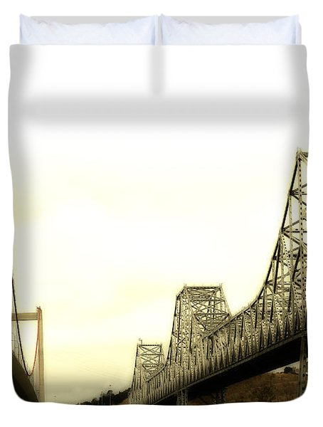 The Two Carquinez Bridges At Crockett and Vallejo California . aka Alfred Zampa Memorial Bridge . 7D8830 Duvet Cover by Wingsdomain Art and Photography