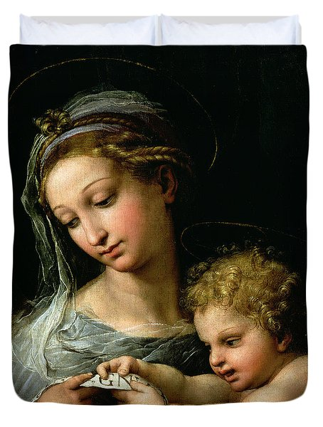 The Virgin Of The Rose Duvet Cover by Raphael