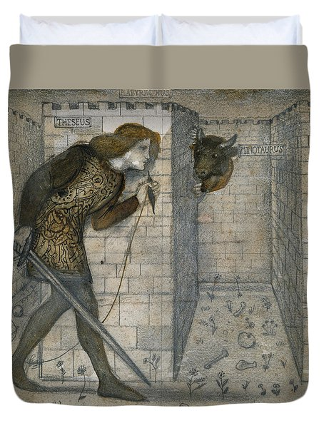 Theseus And The Minotaur In The Labyrinth Duvet Cover by Edward Burne-Jones