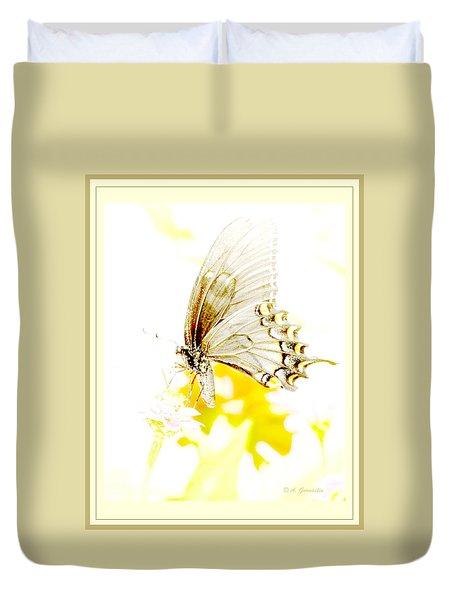 Duvet Cover featuring the digital art Tiger Swallowtail Butterfly On Zinnia Flower by A Gurmankin