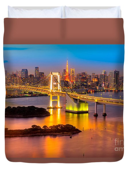 Tokyo - Japan Duvet Cover by Luciano Mortula
