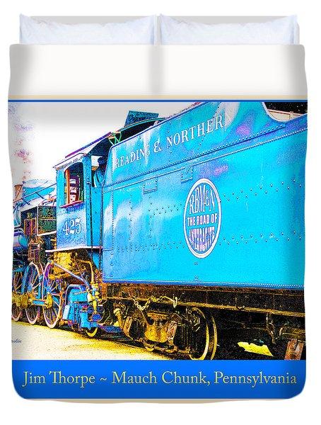 Duvet Cover featuring the digital art Trains Jim Thorpe Pennsylvania by A Gurmankin