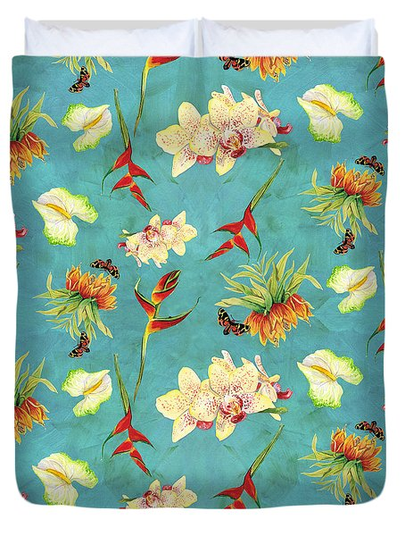 Tropical Island Floral Half Drop Pattern Duvet Cover by Audrey Jeanne Roberts