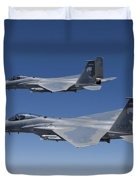 Two F-15 Eagles Conduct Air-to-air Duvet Cover by HIGH-G Productions