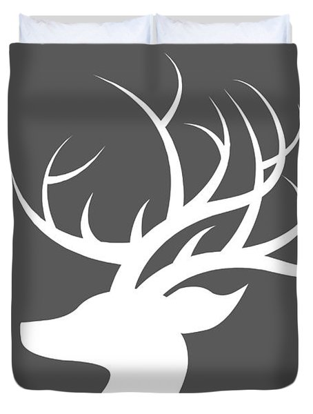 White Deer Silhouette Duvet Cover by Chastity Hoff