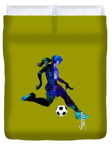 Womens Girls Soccer Collection Duvet Cover by Marvin Blaine