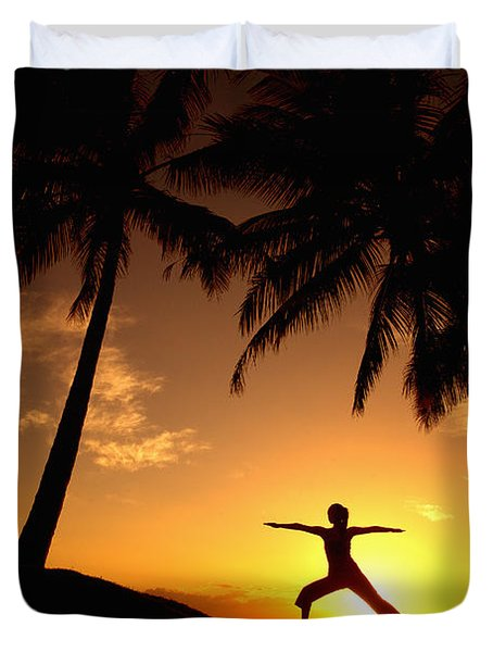 Yoga At Sunset Duvet Cover by Ron Dahlquist - Printscapes