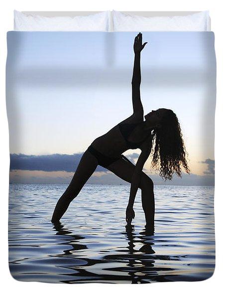 Yoga On The Coastline Duvet Cover by Brandon Tabiolo - Printscapes