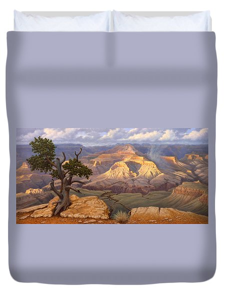 Zoroaster Temple From Yaki Point Duvet Cover by Paul Krapf
