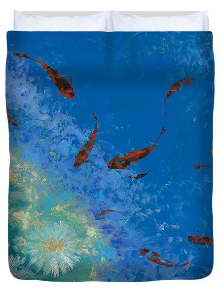 13 pesciolini rossi Duvet Cover by Guido Borelli
