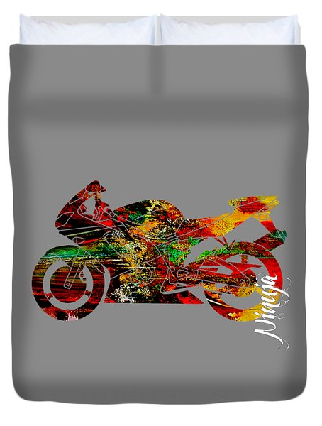 Ninja Motorcycle Duvet Cover by Marvin Blaine