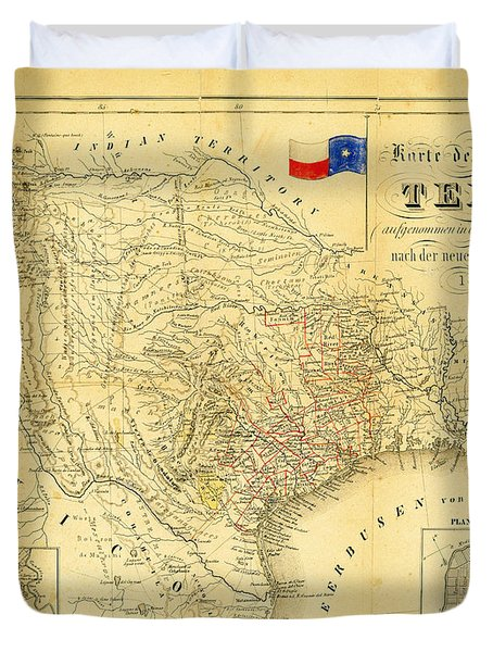 1849 Texas Map Duvet Cover by Simon Wolter