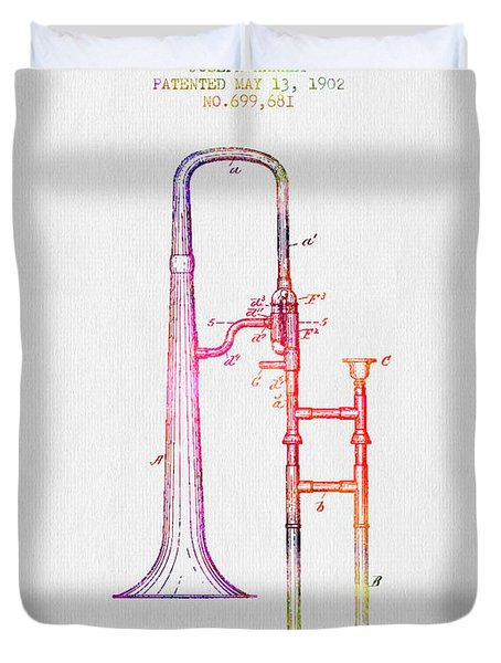 1902 Trombone Patent - Color Duvet Cover by Aged Pixel