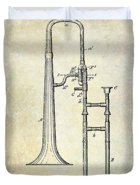 1902 Trombone Patent Duvet Cover by Jon Neidert