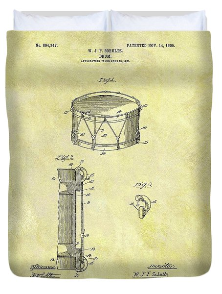 1905 Drum Patent Duvet Cover by Dan Sproul
