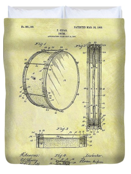 1908 Drum Patent Duvet Cover by Dan Sproul
