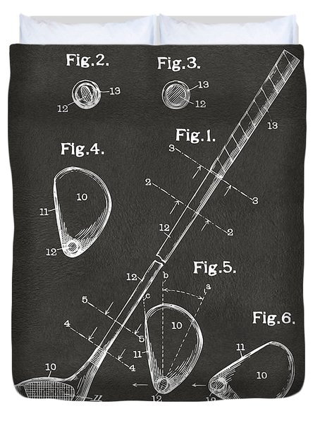 1910 Golf Club Patent Artwork - Gray Duvet Cover by Nikki Marie Smith