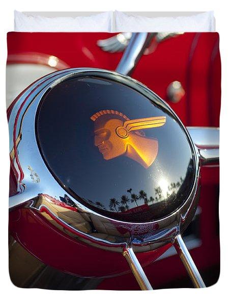 1933 Pontiac Steering Wheel Duvet Cover by Jill Reger