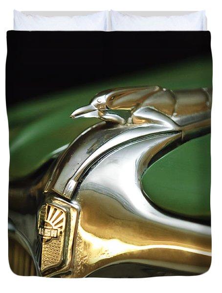 1934 Nash Ambassador 8 Hood Ornament Duvet Cover by Jill Reger